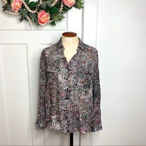 L'Agence Patterned Silk Popover Button Down Top